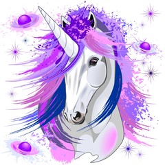 Door stickers Draw Unicorn Spirit Pink and Purple Mythical Creature