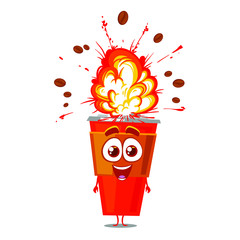 Funny vector character cup of coffee with explosion. Beans boom. Isolated on white background. Cartoon style.