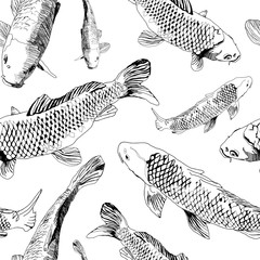 Nature hand draw seamless pattern with black contour Fish isolated on white background. Vector illustration in japanese style can be used as print for t-shirt, textile, wrapping