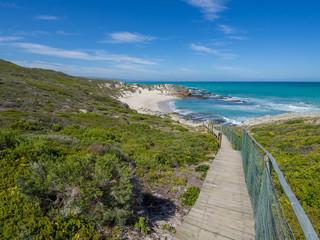 De Hoop Nature Reserve - Wooden walkway leading down to beautiful little bay with coastal vegetation