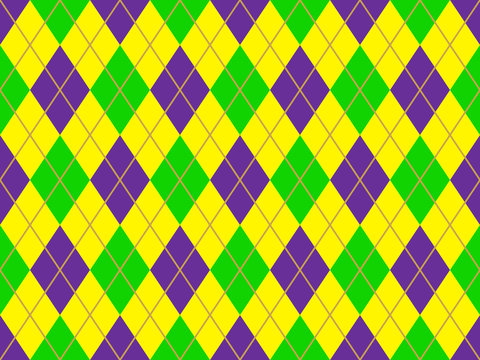 Mardi Gras Argyle Seamless Vector Pattern Tile. New Orleans Carnival Style Background in Violet Purple, Lime Green, Yellow and Gold. Pattern Tile Swatch Included.