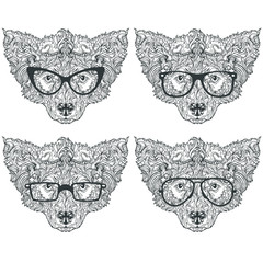 Ornament set of face of dog with fashion eyeglasses and mustache, hipster style, line art, vector illustration isolated on white background