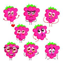 Set of raspberry emotions, emoji, vector illustration isolated on white background