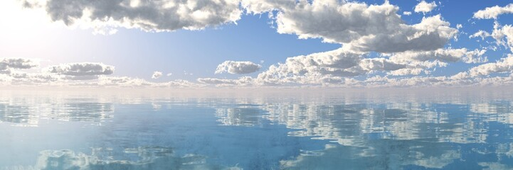 A beautiful sea panorama, the sky with clouds above the water
