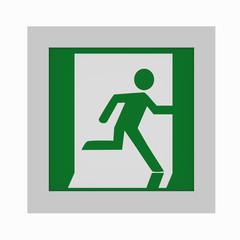 aktuelle Rettungszeichen nach ASR A1.3: Notausgang rechts. Vorderansicht, 3d render