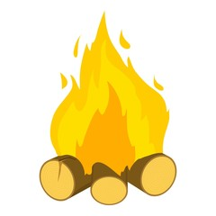 Burning bonfire icon, cartoon style