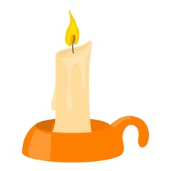 Burning candle in candlestick icon, cartoon style