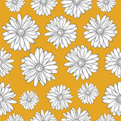 Flower pattern, vector illustration isolated on brown background, repeat pattern