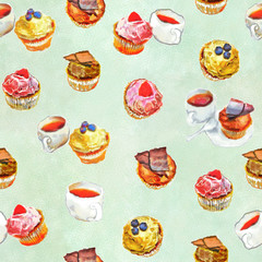 cakes muffins and a cup with tea on a green - a background seamless