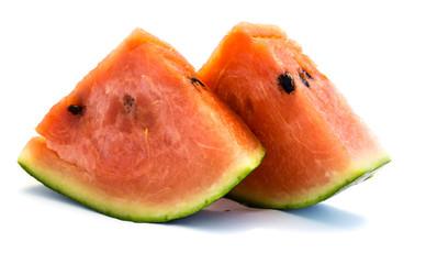 Melone Wassermelone stück stücke  isoliert freigestellt auf weißen Hintergrund, Freisteller