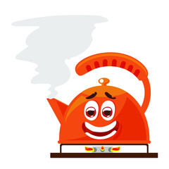 Funny and happy character of Kettle boils icon in a flat style. The concept boils head the newcomer. vector illustration isolated on white background in cartoon style