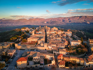 Montefalco, Umbria, Italy. The photo above the town in the sunset light