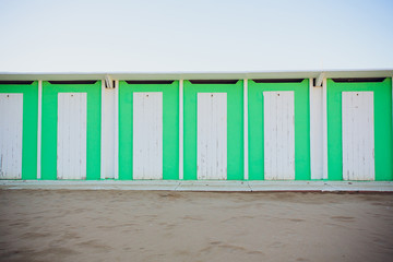 beach changing rooms blue cabin sea dressing room lockers