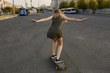 Cool urban skater teen girl