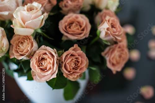 Beautiful Bouquet Of Chocolate Roses Flowers Stock Photo And