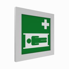 aktuelle Rettungszeichen nach ASR A1.3: Krankentrage. Seitenansicht, 3d render