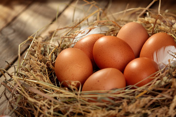 Hen organic eggs in the nest. On wooden rustic background.Copy space