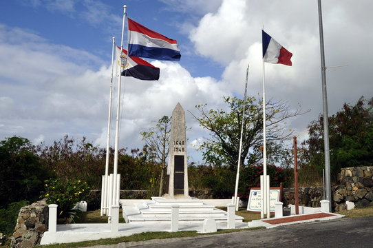 Monument on the Border between St. Maarten and St. Martin