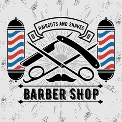 Barbershop Logo with barber pole in vintage style. Vector template