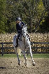 Beautiful Woman on Galloping Horse