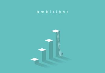 Business Ambition Levels and Ladder Illustration