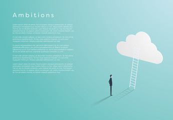 Business Ambitions with Ladder and Cloud Illustration