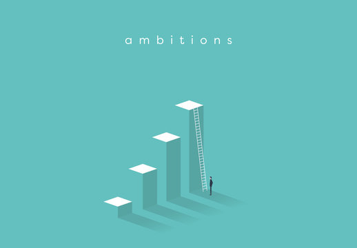 Business Ambition Levels and Ladder Illustration