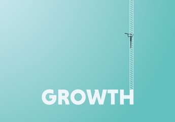 Business Career Growth with Ladder Illustration