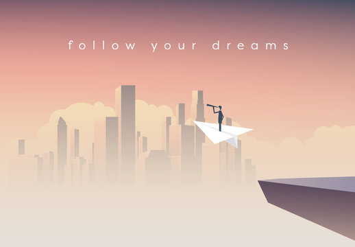 Follow Your Dreams with Paper Plane Illustration