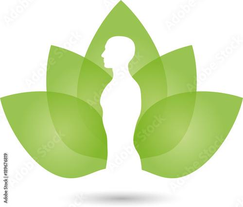 mensch bl tter gesundheit heilpraktiker wellness logo stockfotos und lizenzfreie vektoren. Black Bedroom Furniture Sets. Home Design Ideas