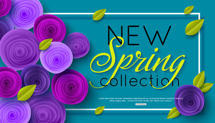 New Spring Collection background decorated ultra violet paper rose flowers. Vector illustration