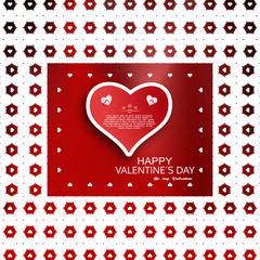 Vector greeting poster for Valentine's Day with gradient red background, white pattern of hexagons and hearts, text, paper heart with shadow in the center.