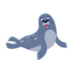 Cute cartoon seal. Arctic  animal. Vector illustration isolated on white background.