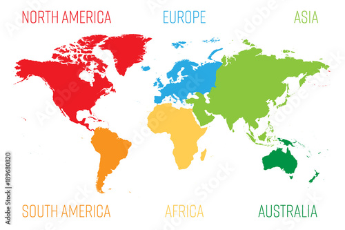 Wall mural World map divided into six continents. Each continent in different color. Simple flat vector illustration.