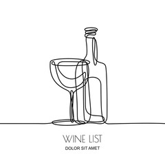 Continuous line drawing. Vector linear black illustration of wine bottle and glass isolated on white background. Concept and design elements for wine list, menu, label.