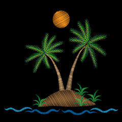 Palm tree with water wave and sun embroidery stitches imitation on black background