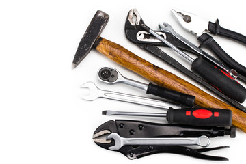 Set of tools, Many tools on white background. With copy space
