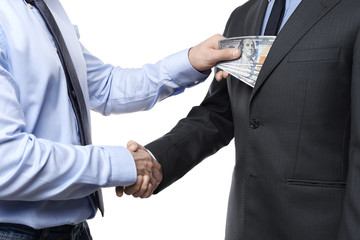 Businessman taking money from man on white background