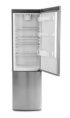 Open empty refrigerator on white background