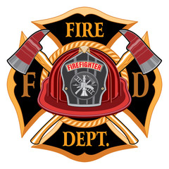 Fire Department Cross Vintage with Red Helmet and Axes is an illustration of a vintage fireman or firefighter Maltese cross emblem with a red firefighter helmet with badge and crossed axes.
