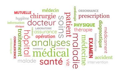 Nuage de Mots - Santé, Médical, Médecine, Mutuelle