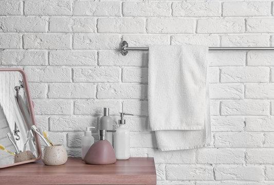 Clean towel on rack in bathroom
