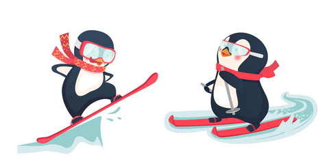 penguin winter sport set