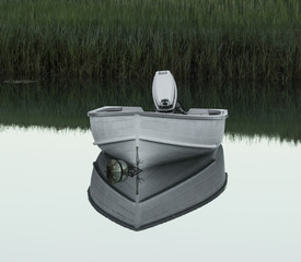 Small white motor boat mored reflecting in lake water