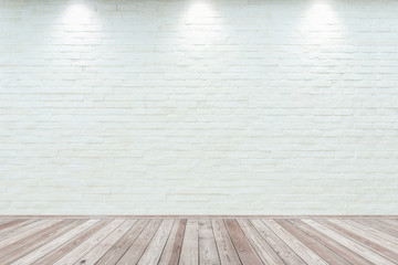 Photo sur Aluminium Mur Room interior vintage with white brick wall and wood floor