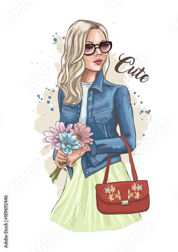 Beautiful Young Woman Holding A Bouquet Of Flowers Stylish Lady In