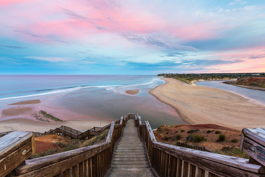 The wooden staircase leading down to the mouth of the Onkapringa river Port Noarlunga