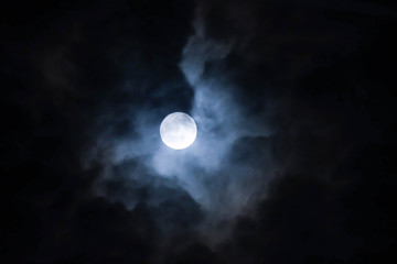 Moon and cloud in the dark night