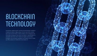Blockchain. Cryptocurrency. Block chain concept. 3D wireframe chain with digital blocks. Editable template. Stock vector illustration.