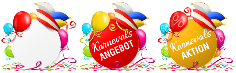 Karneval Fasching Aktion Angebote Buttons Set mit Narrenkappe, Ballons und Konfetti